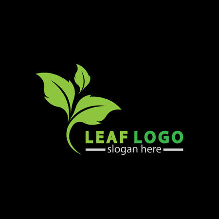 Abstract green leaf logo icon vector design isolated on black background. Landscape design  garden, Plant,spa, nature and ecology vector logo. 일러스트