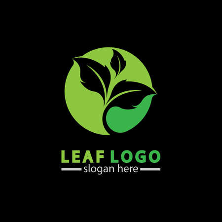 Abstract green leaf logo icon vector design isolated on black background. Landscape design  garden, Plant,spa, nature and ecology vector logo. 스톡 콘텐츠 - 152695636
