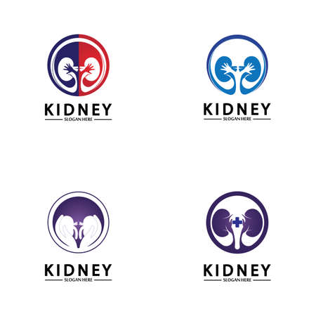 Health and Care Kidney Logo Design Concept. Urology Logo Vector Template 스톡 콘텐츠 - 152695655