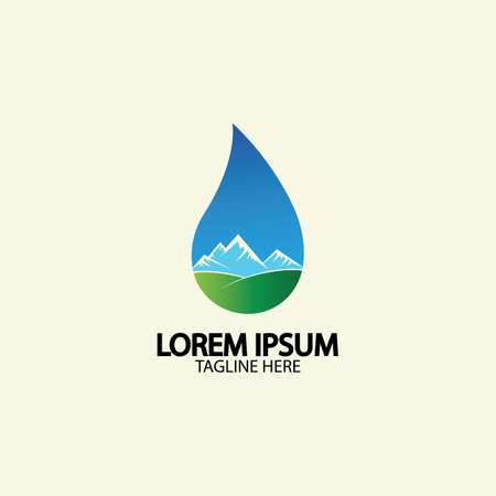 Water drop with mountain river icon Logo vector illustration for water business stock illustration