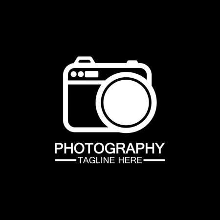 photography camera logo icon vector design template isolated on black background