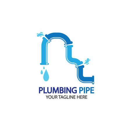 Pipe Plumbing logo vector Design Template,Plumbing logo vector design template. water pipe logo design.Leaking water logotype,Design Concept, Creative Symbol, Icon Logo