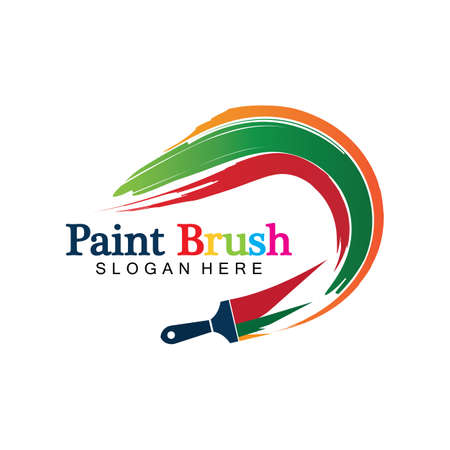 Abstract vector painting brush and colorful paint splash icon, emblem, logo design with color alternative and greyscale version. Editable EPS format design element, arts and crafts concept.