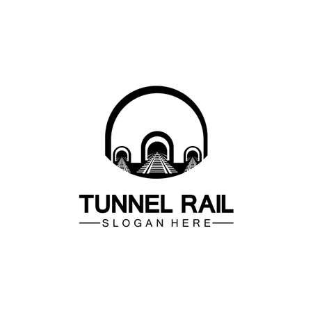 Rail with tunnel logo icon vector design template