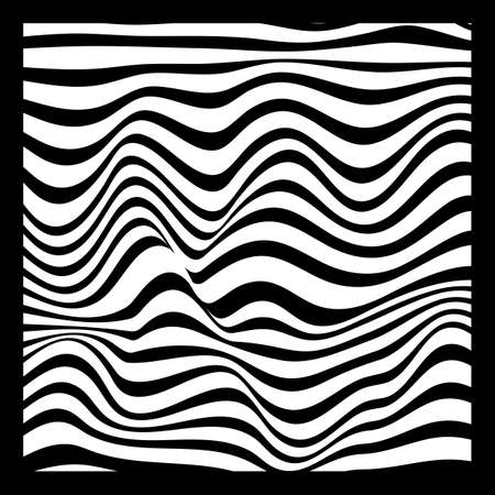 Abstract Geometric Background of Fluid Waves with Fashionable Striped Surface Pattern - Black and White, Vector Swirls