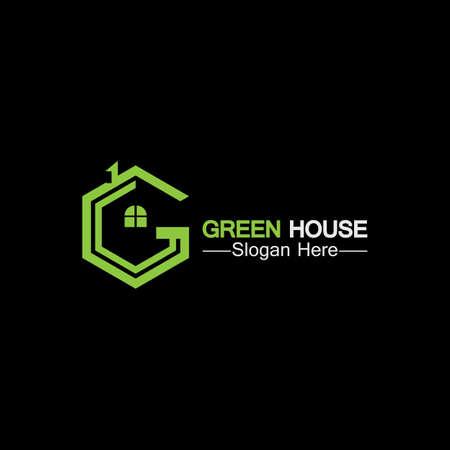 Green house .real estate  ideas concept for eco home isolated black background Ilustração