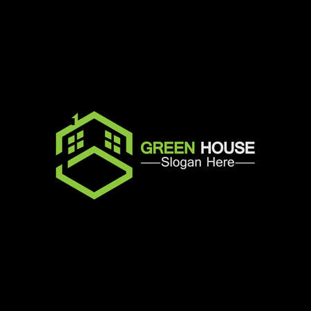 Green house .real estate ideas concept for eco home isolated black background