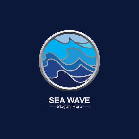 Sea Wave Template Design Vector, Emblem, Design Concept, Creative Symbol, Icon