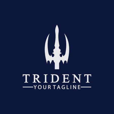 Vintage Trident Spear of Poseidon Neptune God Triton King design Ilustración de vector