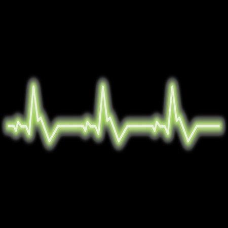 Neon heartbeat. Neon heart pulse graphic. Heartbeats cardiogram. EKG heart line. Vector illustration.