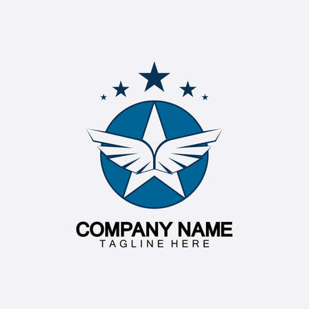 Star with wing logo icon vector illustration design template