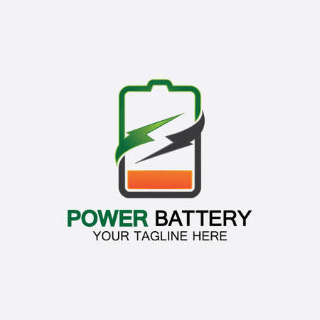 Power Battery Logo icon vector illustration Design Template.Battery Charging vector icon.Battery power and flash lightning bolt logo
