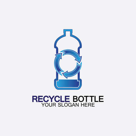 Recycle plastic bottle logo icon vector illustration design.Bottle with recycle symbol. Plastic recycling symbol flat icon-vector illustration Logos