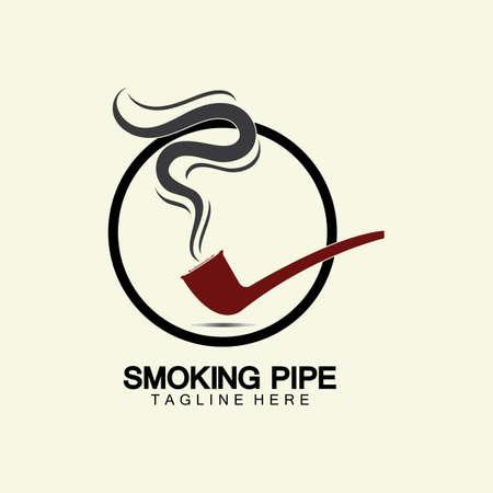 Pipe Smoking Logo icon vector illustration design.Tobacco, cigar, pipe icon vector image.