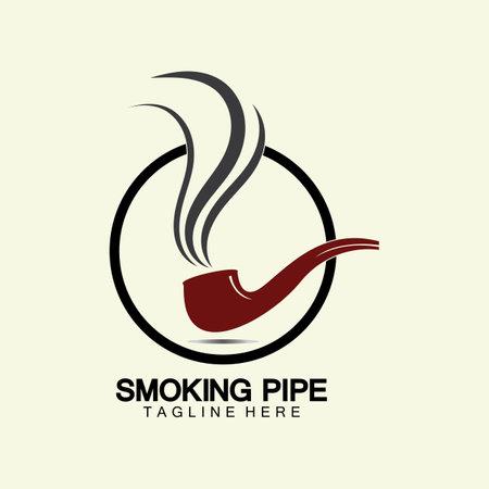 Pipe Smoking Logo icon vector illustration design.Tobacco, cigar, pipe icon vector image. Vectores