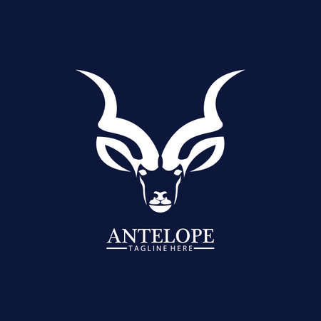 Antelope head logo vector icon illustration design template