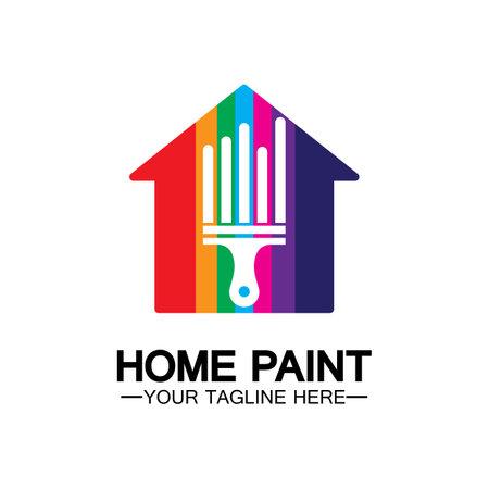Home Painting Vector Logo Design.Home House Painting Service Coloring Logo Design Template.House painting service, decor and repair multicolor icon Vector logo. Logo