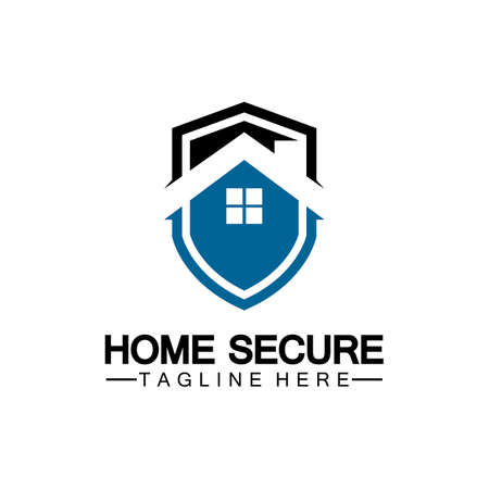 Home secure logo, smart house logo design,Home protection logo design template. Vector shield and house logotype illustration.