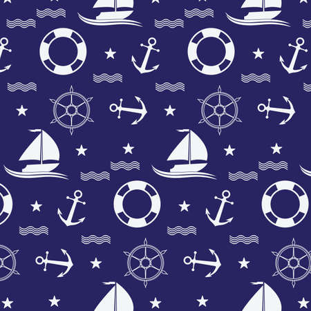 Nautical or marine seamless patterns background, Nautical Pattern Vector Art,icon & Graphics Illustration