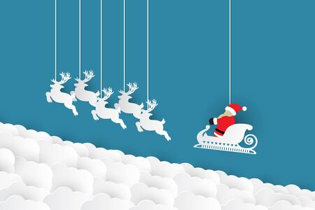 Merry Christmas and Happy New Year.Santa Cross,reindeer and cloud on blu background,paper art vector and illustration