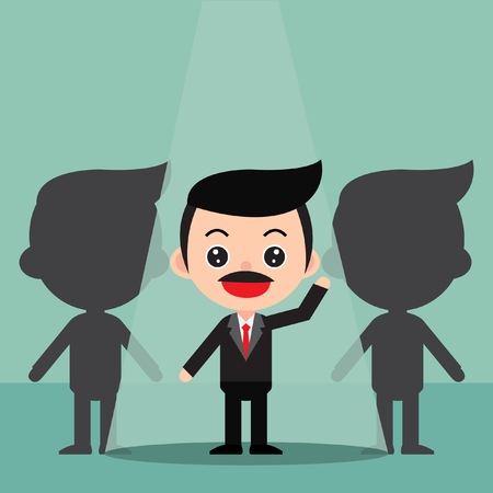 Business recruitment hiring concept.Focus on the people who are featured.In a cute cartoon style. Vector and Illustration Foto de archivo - 97923494