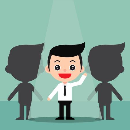Concept d'embauche de recrutement d'entreprise. Concentrez-vous sur les personnes en vedette. Dans un style de dessin animé mignon. Vecteur et illustration