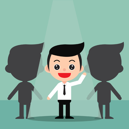 Business recruitment hiring concept.Focus on the people who are featured.In a cute cartoon style. Vector and Illustration