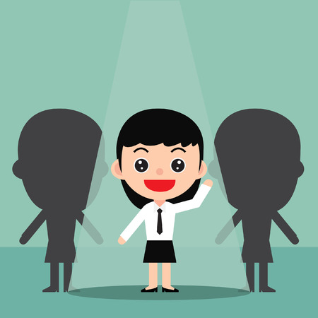 Business recruitment hiring concept.Focus on the people who are featured.In a cute cartoon style. Vector and Illustration. Foto de archivo - 97946998