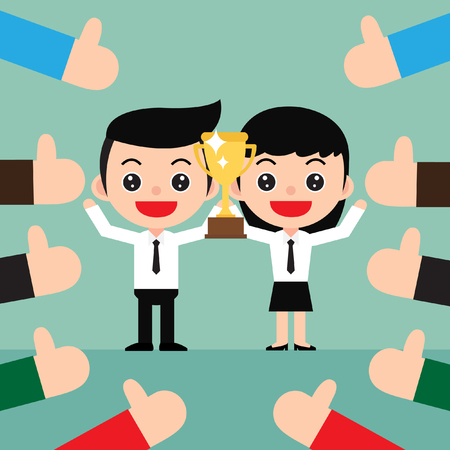Successful Business team concept. The winner stands in the celebrates their victory with a trophy. Lots of thumbs up hands in a cute cartoon style.