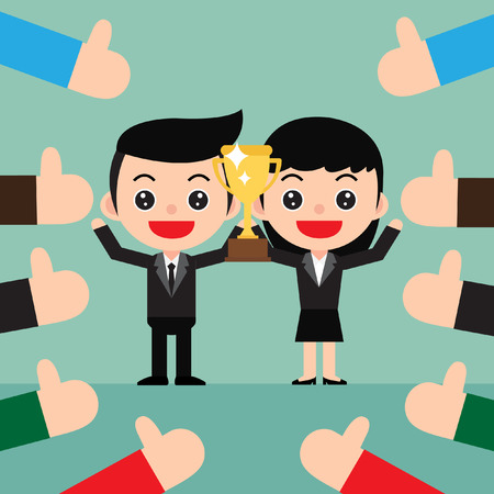 Successful Business team concept. The winner stands in the celebrates their victory with a trophy. Lots of thumbs up hands. In a cute cartoon style. Vector and Illustration