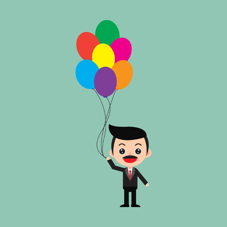 Businessman floating with balloon freedom and opportunity. Stock Illustratie