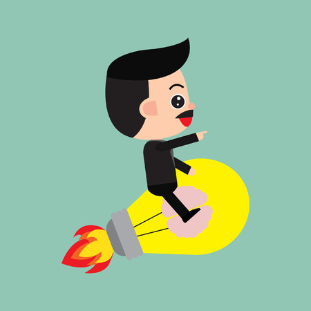 Startup business. Businessman sitting on a rocket. Stock Illustratie