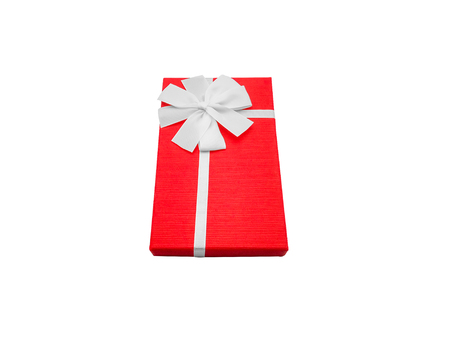 Gift box with ribbon isolated on white background. Clipping Path