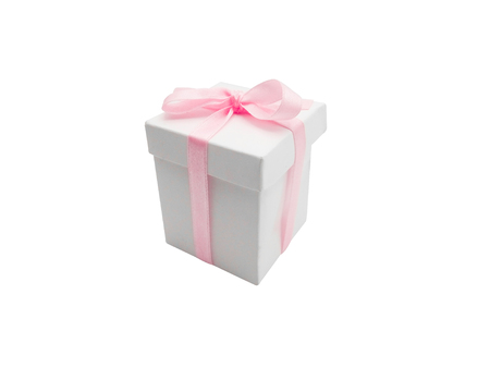 Gift box with ribbon isolated on white background. Stockfoto