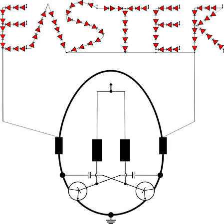 capacitor: Red LED flashing light circuit easter egg