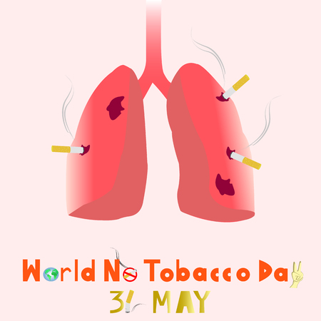 quit: World No Tobacco Day. 31 MAY all year. Lungs destroyed by tobacco. PLEASE QUIT! Illustration