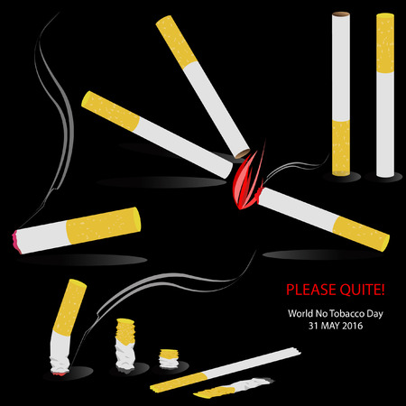 lesions: Tobacco Cigarettes Isolate Fire Smoke Smoking Vector Illustration. 31 May 2016. World No Tobacco Day. Illustration