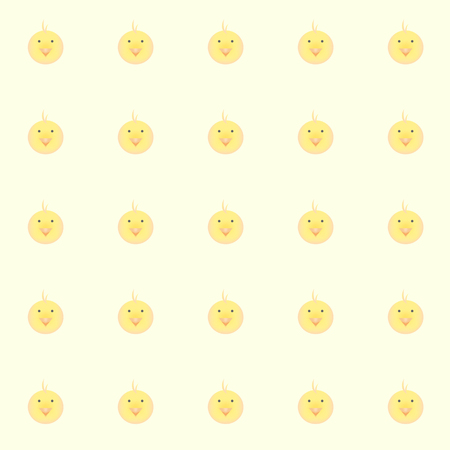 cutie baby chickens with yellow background. tile background. vector. illustration.