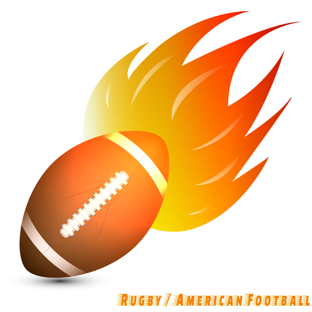 Ballon de rugby ou ballon de football américain avec ton jaune rouge orange du feu en fond blanc. Club de football club. vecteur. illustration. conception graphique. base rouge vert bleu.
