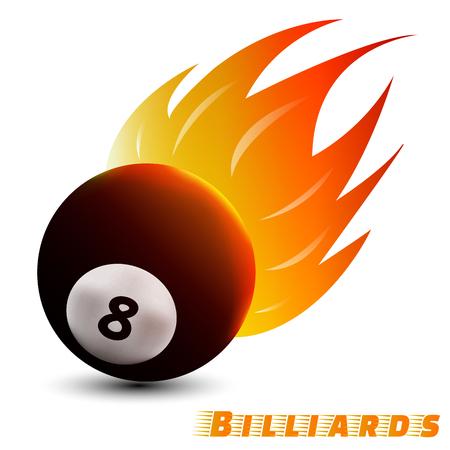 billiards ball with red orange yellow tone fire in the white background. sport ball logo design. billiards ball logo. vector. illustration. graphic design.