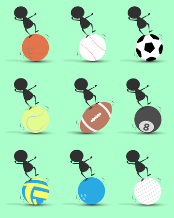 Black man character cartoon imbalance on sports ball with green background. Flat graphic. logo design. sports cartoon. sports balls .vector. illustration. Illustration