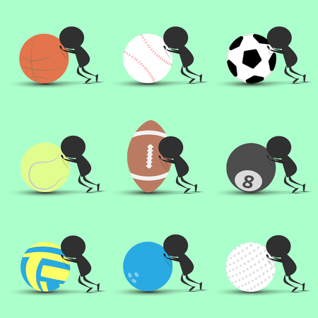 shove: Black man character cartoon push sports ball forward with green background. Flat graphic. logo design. sports cartoon. sports balls .vector. illustration.