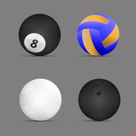 Ballon de volley-ball, boule de billard, balle de golf, boule de bowling avec fond gris. Jeu de balles de sport. vecteur. illustration. conception graphique.