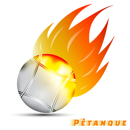 Boules con rojo fuego amarillo tono amarillo en el fondo blanco. Diseño de la insignia de la bola del deporte. Logotipo de petanca. Pantangue es el nombre original de boules. Deporte de Francia. vector. ilustración. diseño gráfico.