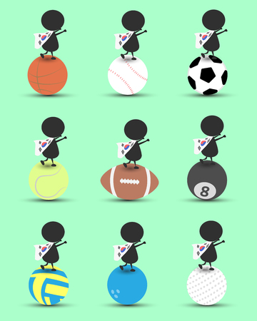 Black man character cartoon stand on sports ball and hands up overhead with wavy South of Korea flag and green background. Flat graphic.logo design.sports cartoon.sports balls vector. illustration.