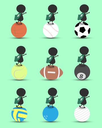 macau: Black man character cartoon stand on sports ball and hands up overhead with wavy Macau flag and green background. Flat graphic.logo design.sports cartoon.sports balls vector. illustration. RGB color.