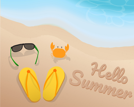 green crab: Green sun glasses, yellow sandals, orange crab and hello summer on the sand with the blue tone of the wave at the beach. illustration. vector. graphic design. summer season.