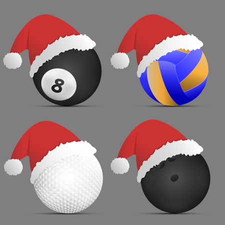 Santa Hat with balls on gray background.