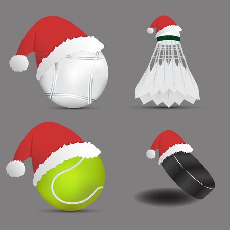 Santa Hat with balls on gray background.set of sports balls.