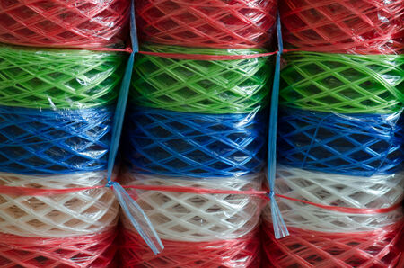 saturate: Dozen of colorful ropes Stock Photo